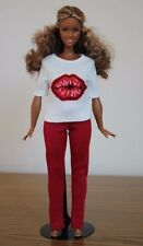 "Clothes for Curvy Barbie Doll. T-Shirt ""Kiss"" and Red Leggings for Dolls."
