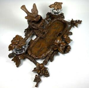 """Superb HC 19th c. Black Forest 13.5"""" Desk Stand, Double Inkwell, Bird and Acorns"""