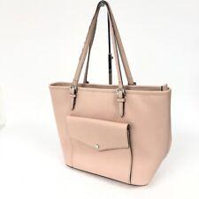 Michael Kors Women's Pink Leather Pocket Tote Bag Purse Handbag Laptop Diaper