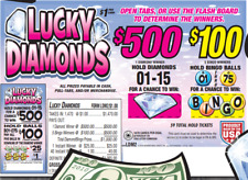 "NEW- Pull Tab Ticket ""LUCKY DIAMONDS"" 1470ct- $405.00 PROFIT - FREE SHIPPING"