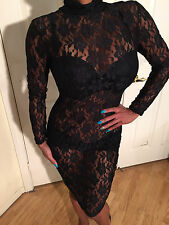 Sexy Bodycon Long Sleeve Mockneck Black Sheer stretch Lace Mini Dress M