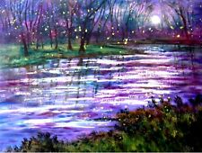 Giclee canvas PRINT - Violet Moon stream and fireflies  -16 x 20 x 7/8