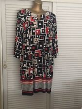 Gorgeous Black Red White Beige Geometric Design Dress w 3/4 Sleeves Gold Bar 2X