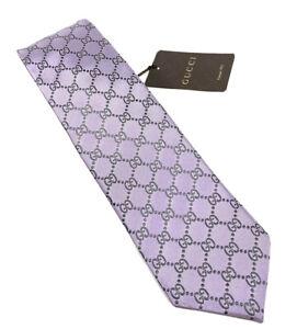 """NEW GUCCI GG Print Light Purple Lavender Men's Silk Tie 3.25"""""""