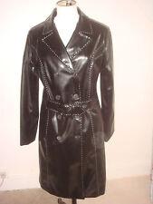 MARIA DIONISOSU années 70 style Designer Coat PVC brevet Look Noir Taille 12