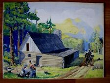 FABULOUS 1930'S AMERICAN OLD WEST PIONEER WATERCOLOR ILLUSTRATION PAINTING!!