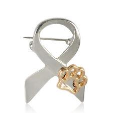 Fashion Gold Silver Paw Print Animal Cruelty Awareness Ribbon Brooch Pin Cat Dog