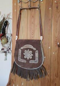 Stunning brown suede leather snakeskin fringed vintage saddle shoulder bag