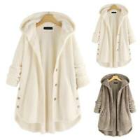 Women Teddy Bear Oversized Hooded Coat Winter Fleece Cardigans Jumper Jackets