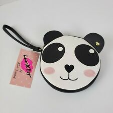Betsey Johnson Panda Wristlet Bag Coin Purse Wallet Black White Pink