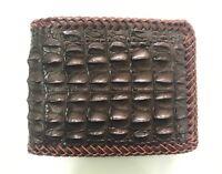Genuine Crocodile Alligator Skin Leather Men's Wallet Dark Brown