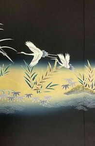 Vintage SILK Japanese Kimono TOMESODE Fabric Double Panel  #434