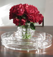 BACCARAT ART DECO VINTAGE CRYSTAL CENTERPIECE VASE ROUND SERVING DISH ADNET SET