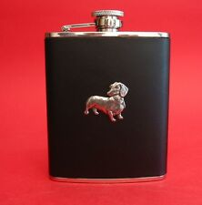 Dachshund Dog 6oz Hip Flask Leather NEW Boxed Vet Men's Fathers Dachshund Gift