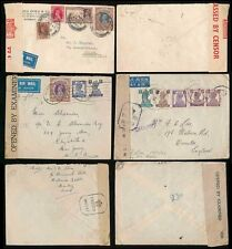 INDIA WW2 CENSORED ENVELOPES MULTI FRANKINGS AIRMAILS to GB USA SWISS...3 ITEMS