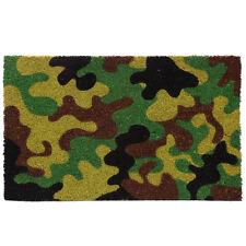 Heavy Duty Coir Door Mat In Green Shades Camo / Camouflage Design FREE GIFT