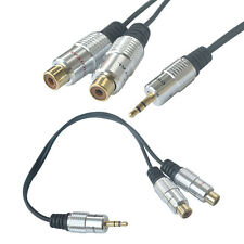 1pcs Practical 3.5mm 3 Pole Male Plug to 2 RCA Female Stereo Audio Adapter Cable
