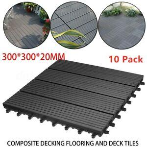10Pc Plastic Wpc Garden Decking Tiles Interlocking Balcony Patio Boards Flooring
