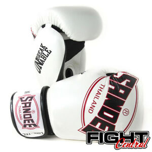 Sandee Cooltec Leather Boxing Gloves - White - FREE P&P - Muay Thai, MMA