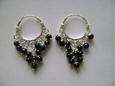 Sterling Silver 20mm x 2mm Genuine Black Onyx 13 Stone Beads Hoop Earrings New