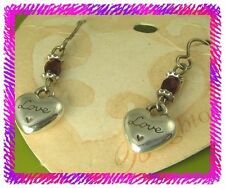 BRIGHTON LE ROUGE HEART Red Bead Silver French Wire EARRINGS New