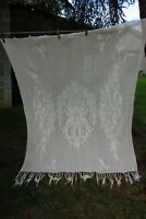 Antique French Hand Crafted Cotton Crochet Cherub Curtain Panel c1920s 5ft x 6ft