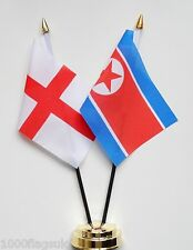 England & North Korea Double Friendship Table Flag Set