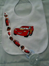 lightning mcqueen personalized with yr childs name  dummy clip bib sets