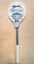 Vintage Slazenger Panther Series Squash Racket White and Blue Graphite Cover