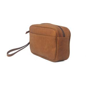 Leather Toiletry Bag Travel Washbag Dopp Kit Mens Shaving Case Grooming Pouch