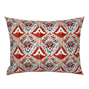 Red Ikat Abstract Watercolor Watercolour White Luxury Pillow Sham by Roostery