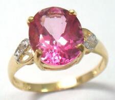 BESTJEWELLERY GORGEOUS 10KT YELLOW GOLD PINK TOPAZ & DIAMOND RING SIZE 7 R707