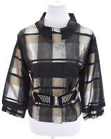 Puli Studded Belt Metallic Silver Black Plaid 80s Zip Jacket Blazer Women Sz L