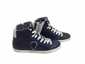 scarpe sneakers alte uomo Via Condotti pelle blu doppio scudo made in italy