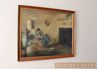 "MID CENTURY FRANK WESTON BENSON PRINT ""RAINY DAY"" GIRL WALL ART VTG PAINTING 60S"