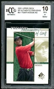 2001 Upper Deck SP Authentic Previews #51 Tiger Woods Rookie BGS BCCG 10 Mint+