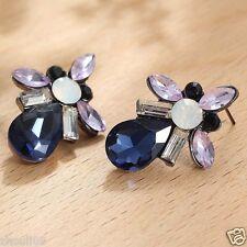 Long Ear Stud Hoop earrings 109 Handmade 1pair Woman's Blue Crystal Rhinestone