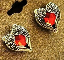 Fd4857 Vintage Retro Angel Wings Red Heart Ruby Gothic Stud Earring Women Gift@