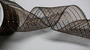 1 Spool Halloween Ribbon Pastic Mesh with Metallic Trim  3-5/8 In x 15 ft   New