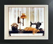 Country Sewing & Old Lamp Still Life Fine Wall Decor Contemporary Framed Picture