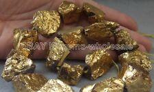 """L10847 15x21-23x27mm Gold Titanium Quartz Rough Loose Nugget Beads 15.5"""""""