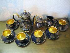 Altes prächtiges Kaffeeservice Mocca-Service blau/gold asiatisch China Vögel