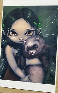 LE CANVAS SIGNED Jasmine Becket Griffith A Ferret and His Fairy 4/25 Rare 2005