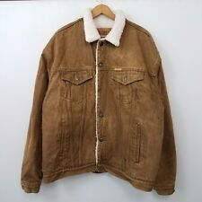 VTG 80s 90s Cosmo Sherpa Lined Denim Trucker Jacket Mens SZ XL Jean Skate #G