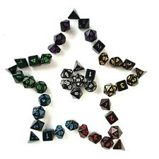 Black Dice Set 7 Polyhedral Die Role Playing DND D&D Pathfinder RPG D20