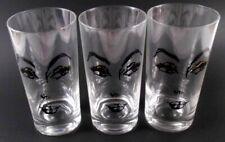 MCM Lady Face Eyes Brows Set of 6 Glass Tumblers Barware Set Vintage No Markings