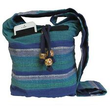 Nepal Sling Bags Shoulder Strap Boho Chic Hippy Everyday Bag - Blue Rivers