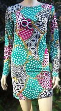 PUNKYFISH Green Multi Colour Chain Print Long Sleeve Bodycon Dress Size M