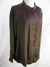 Jane Lamerton Size 16 maroon silk satin long sleeve buttoned blouse shirt