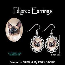 SIAMESE Cat - SILVER FILIGREE EARRINGS Jewelry